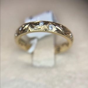 Jewelry - NWT Engraved Diamond Band, 14kt Yellow Gold